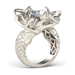 Jeulia  White Cushion Cut Sterling Silver Mermaid Ring