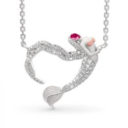 "Jeulia ""Ocean's Light"" Sterling Silver Mermaid Gift Necklace for Valentine's Day"