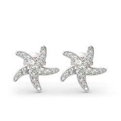 Jeulia Starfish Sterling Silver Stud Earrings