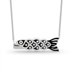 Jeulia Japanese Koinobori Pendant Sterling Silver Necklace