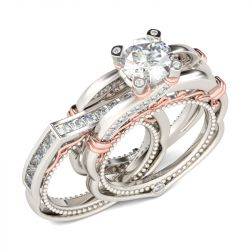 Jeulia Milgrain Interchangeable  Round Cut Sterling Silver Ring Set