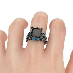 Jeulia Fancy Black Princess Cut Sterling Silver Skull Ring