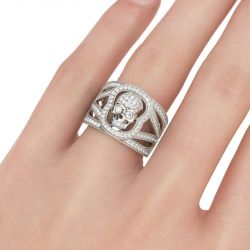 Jeulia Round Cut Sterling Silver Skull Ring