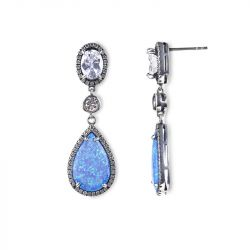 Jeulia Dreamlike Blue Opal Earrings