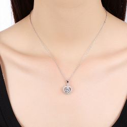 Jeulia Heart Halo Sterling Silver Necklace
