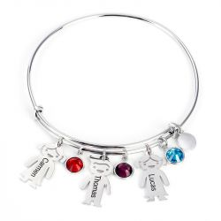 Jeulia Bangle Bracelet with Kids Charms in Sterling Silver