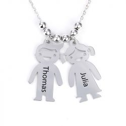 Jeulia  Kids Charms Engraved Necklace Sterling Silver