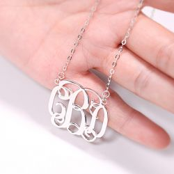 Jeulia Classic Sterling Silver Monogram Necklace