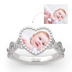 "Jeulia ""Endless Love"" Sterling Silver Personalized Photo Ring"