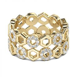 Jeulia Yellow Gold Tone Honeycomb Sterling Silver Women's Band