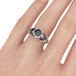 Jeulia Two Tone Round Cut Sterling Silver Skull Ring