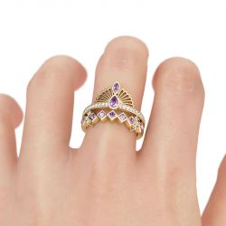 Jeulia Vintage Crown Sterling Silver Ring