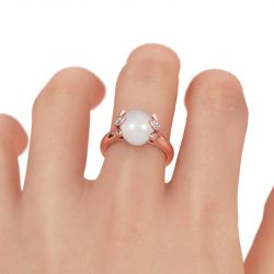 Jeulia Rose Gold Tone Cultured Pearl Sterling Silver Ring