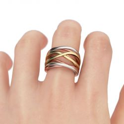 Jeulia  Three Tone Intertwined Sterling Silver  Ring