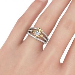 Jeulia Two Tone Heart Cut Claddagh Sterling Silver Ring