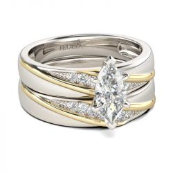 Jeulia Diagonal Marquise Cut Sterling Silver Ring Set