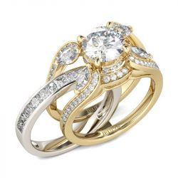 Jeulia Two Tone Round Cut Interchangeable Sterling Silver Ring Set