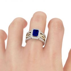 Jeulia Halo Radiant Cut Sterling Silver Interchangeable Ring Set
