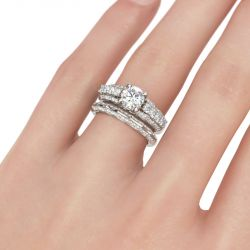 Jeulia Contoured Round Cut Sterling Silver Ring Set