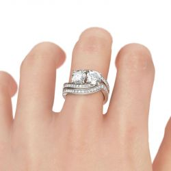 Jeulia Bypass Two Stone Round Cut Sterling Silver Ring Set