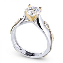 Jeulia  Two Tone Solitaire Round Cut Sterling Silver Ring