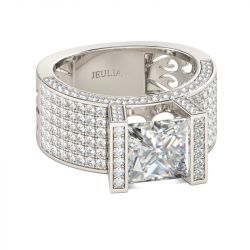 Jeulia Wide Princess Cut Sterling Silver Ring