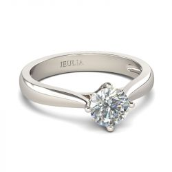 Jeulia Classic Solitaire Round Cut Sterling Silver Ring