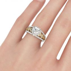 Jeulia Two Tone Halo Heart Cut Sterling Silver Ring