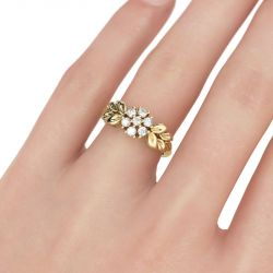 Jeulia Leaf And Flower Design Round Cut Sterling Silver Ring