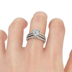 Jeulia Pave Split Shank Heart Cut Sterling Silver Engagement Ring