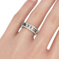 Jeulia Split Shank Princess Cut Sterling Silver Men's Band