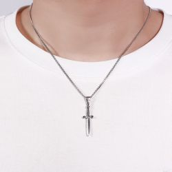 Jeulia Dagger Sterling Silver Men's Necklace