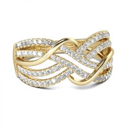 Jeulia Gold Tone Intertwined Round Cut Sterling Silver Women's Band