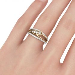 Jeulia Two Tone Round Cut Sterling Silver Women's Band