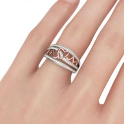 Jeulia Mom's Heartbeat Sterling Silver Band