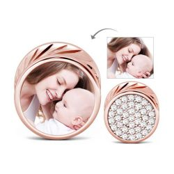 Rose Gold Round Shape Photo Charm Sterling Silver