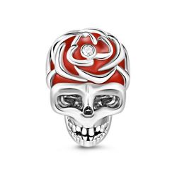Red Skull Charm Sterling Silver