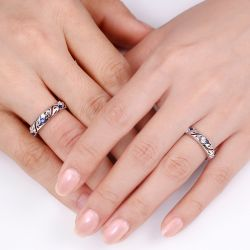 Jeulia Hollow Out Sterling Silver Band Set