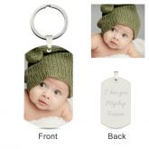 Jeulia  Dog Tag Personalized Photo Keychain Sterling Silver