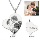 Jeulia  Loving Heart Laser Engraved Personalized Photo Necklace Sterling Silver