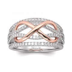 Jeulia Two Tone Infinity Sterling Silver Women's Band