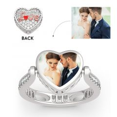 """Jeulia """"I Love You"""" Sterling Silver Personalized Photo Ring (With A Free Chain)"""