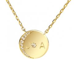 "Jeulia ""Moon and Sun"" Personalized Sterling Silver Necklace"