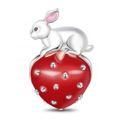 """""""Beautiful Life"""" Red Strawberry Rabbit Sterling Silver Charm"""