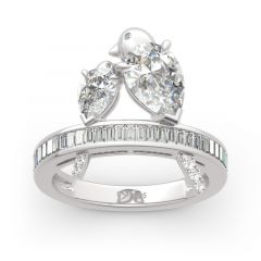 Jeulia Two Bird Pear Cut Sterling Silver Ring