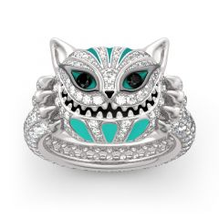 """Jeulia """"Appear and Disappear at Will"""" Cat Sterling Silver Enamel Ring"""