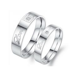 Jeulia  Love Key And Lock Titanium Steel Couple Rings