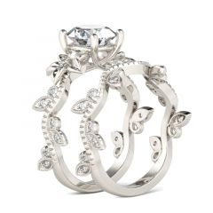 Jeulia Floral Design Round Cut Sterling Silver Ring Set