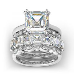 Jeulia 4PC Asscher Cut Sterling Silver Ring Set