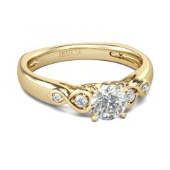 Jeulia  Gold Tone Infinity Round Cut Sterling Silver Ring